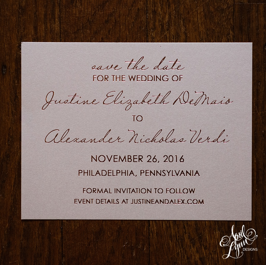 april_lynn_designs_justine_alex_rose_gold_foil_stamping_save_the_date_philadelphia_elegant_romantic_luxe_couture_bespoke_feature