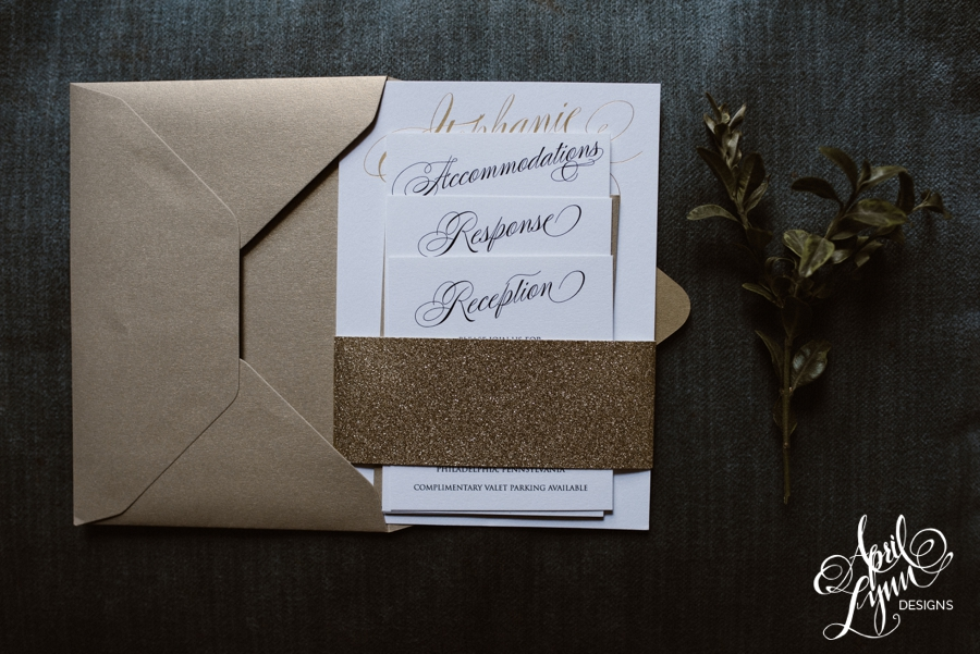 gold foil, philadelphia wedding invitation, cescaphe, glitter, classic, elegant