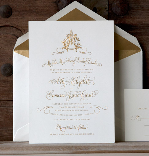 Most Expensive Wedding Invitations: Ways To Print Gold On Custom Wedding Invitations