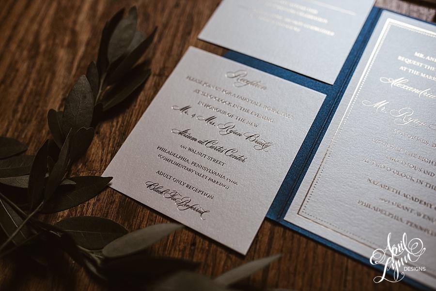 april_lynn_designs_allie_ryan_navy_gold_pocketfold_wedding_invitation_gold_foil_cescaphe_nazareth_academy_philadelphia_black_tie_preferred