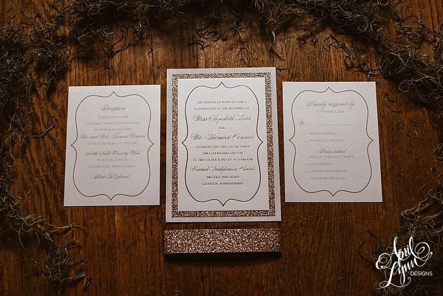 april_lynn_designs_liz_thomas_rose_gold_glitter_wedding_invitation_north_hills_country_club_gold_foil_black_tie_optional