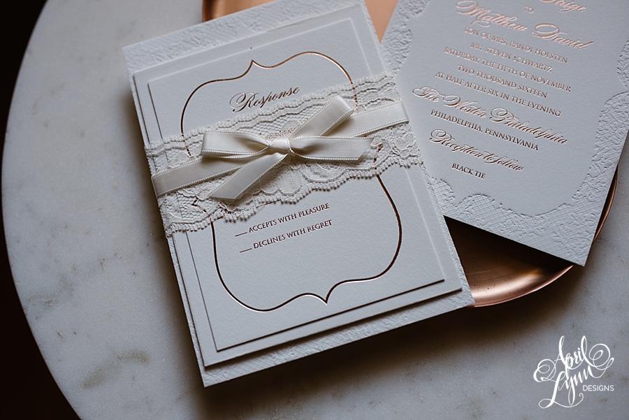 april_lynn_designs_tracie_matt_rose_gold_lace_deboss_wedding_invitation_elegant_westin_philadelphia_black_tie