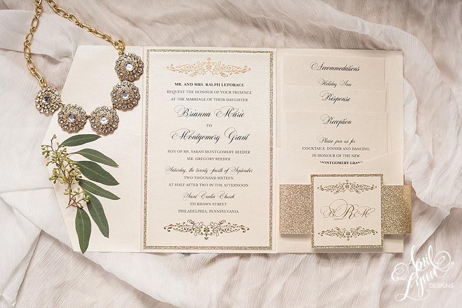 April_Lynn_Designs_Brianna_Montgomery_Gold_Foil_Gold_Glitter_Pocketfold_Wedding_Invitation_Celebrations_Bensalem_Philadelphia