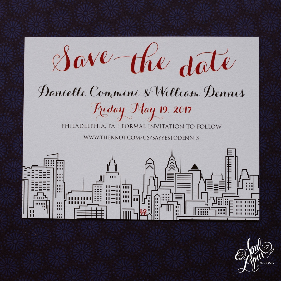 April_Lynn_Designs_Danielle_William_Philadelphia_Skyline_Whimsical_Save_The_Date_Cescaphe_Ballroom_Philly_Love_feature