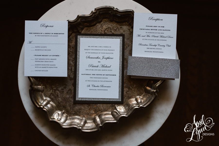 black and white, silver glitter modern and traditional wedding invitation suite