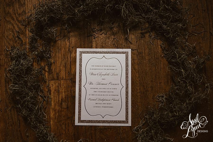 Liz + Tom's Rose Gold Foil Wooden Wedding Invitation Suite ...