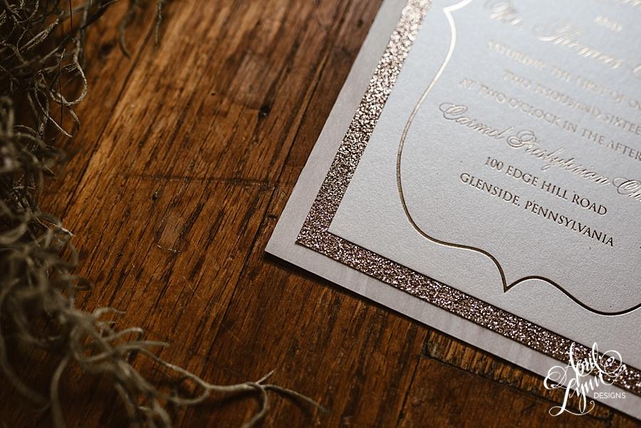 liz   tom u2019s rose gold foil wooden wedding invitation suite