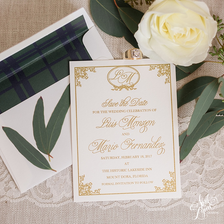 AprilLynnDesigns_Luis_Mario_Historic_Lakeside_Inn_Mount_Dora_Florida_Miami_Wedding_Save_the_Date_Gold_Thermography_Plaid_Navy_Forest_Green