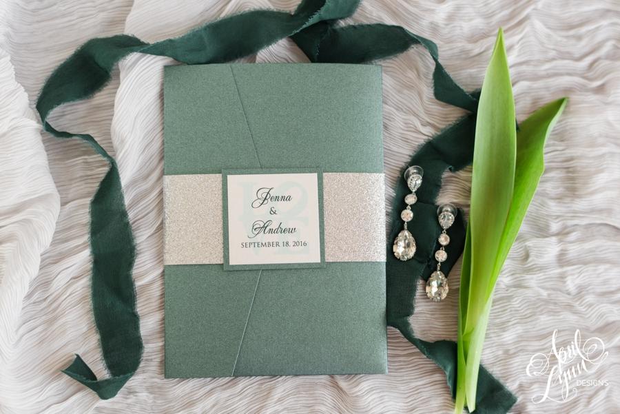 April_Lynn_Designs_Jenna_Andrew_Finley_Catering_Ballroom_at_the_Ben_Philadelphia_Pennsylvania_Wedding_Invitation_Suite_Green_Silver_Glitter_Modern