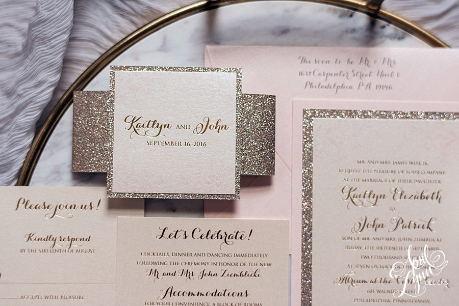 Kaitlyn + John\'s Modern Blush and Gold Foil Wedding Invitation Suite ...