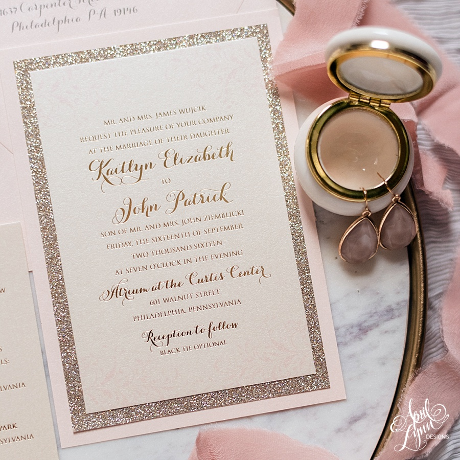 kaitlyn johns modern blush and gold foil wedding invitation suite - Blush Wedding Invitations