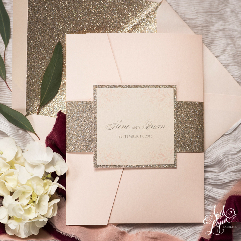 Blush and Gold Glitter Invitation Suite by April Lynn Designs | www.aprillynndesigns.com