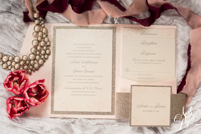 Blush And Gold Glitter Invitation Suite By April Lynn Designs |  Www.aprillynndesigns.com ...