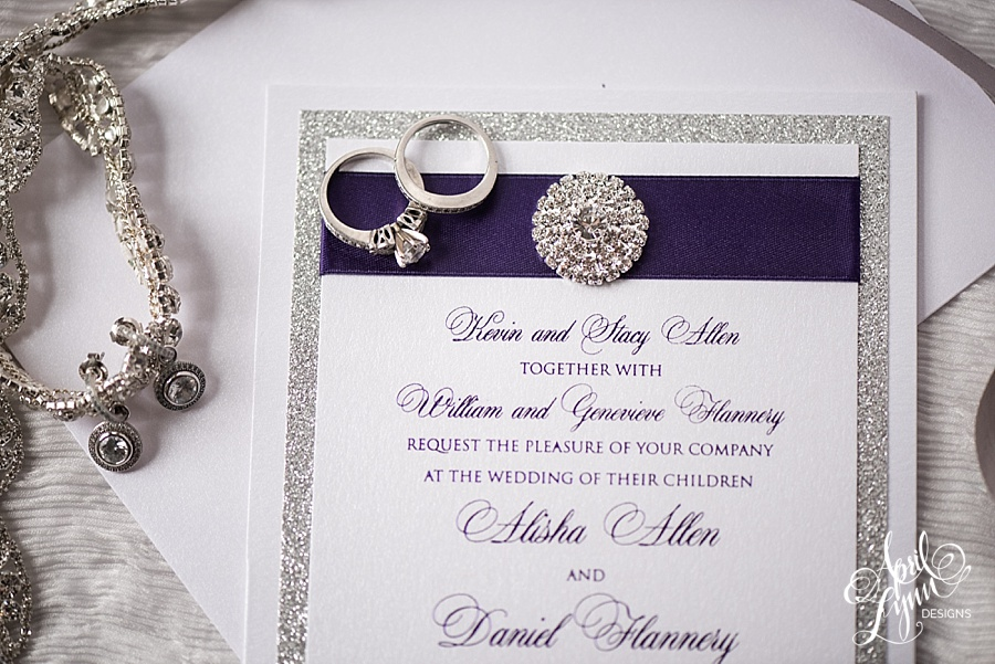 Silver And Purple Wedding Invitations: Alisha + Dan's Elegant Purple Foil And Silver Glitter