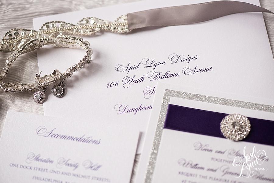 April_Lynn_Designs_Alisha_Dan_Cescaphe_Tendenza_Philadelphia_Pennsylvania_Wedding_Purple_Silver_Wedding_Invitation_Suite_Silver_Foil_Glitter_Modern