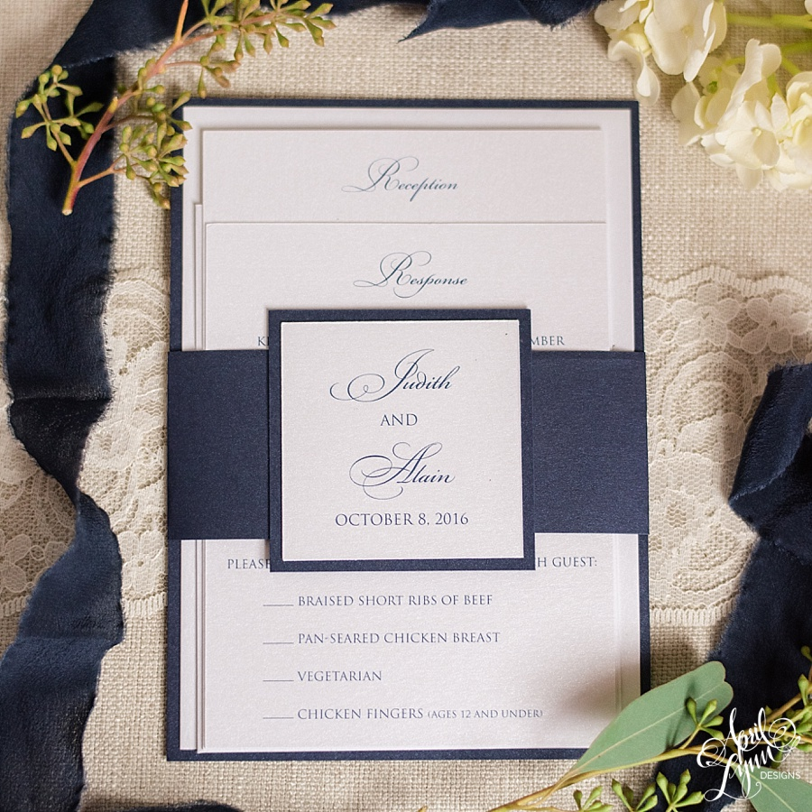 Judy alains custom villanova wedding invitation suite april there isnt a better way to start todays blog than a note from the bride herself from judy my fianc alain duroseau and i started dating our sophomore monicamarmolfo Choice Image