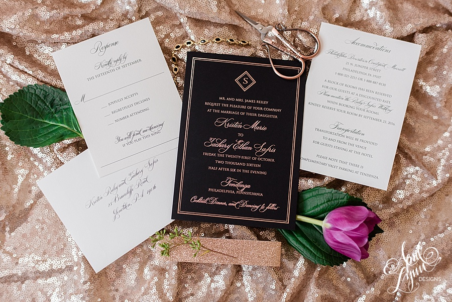 Black and Rose Gold Tendenza Philadelphia Wedding Invitation by April Lynn Designs | www.aprillynndesigns.com
