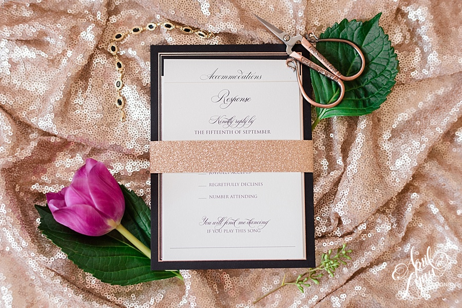 Rose Gold Glitter Wedding Invitation by April Lynn Designs | www.aprillynndesigns.com