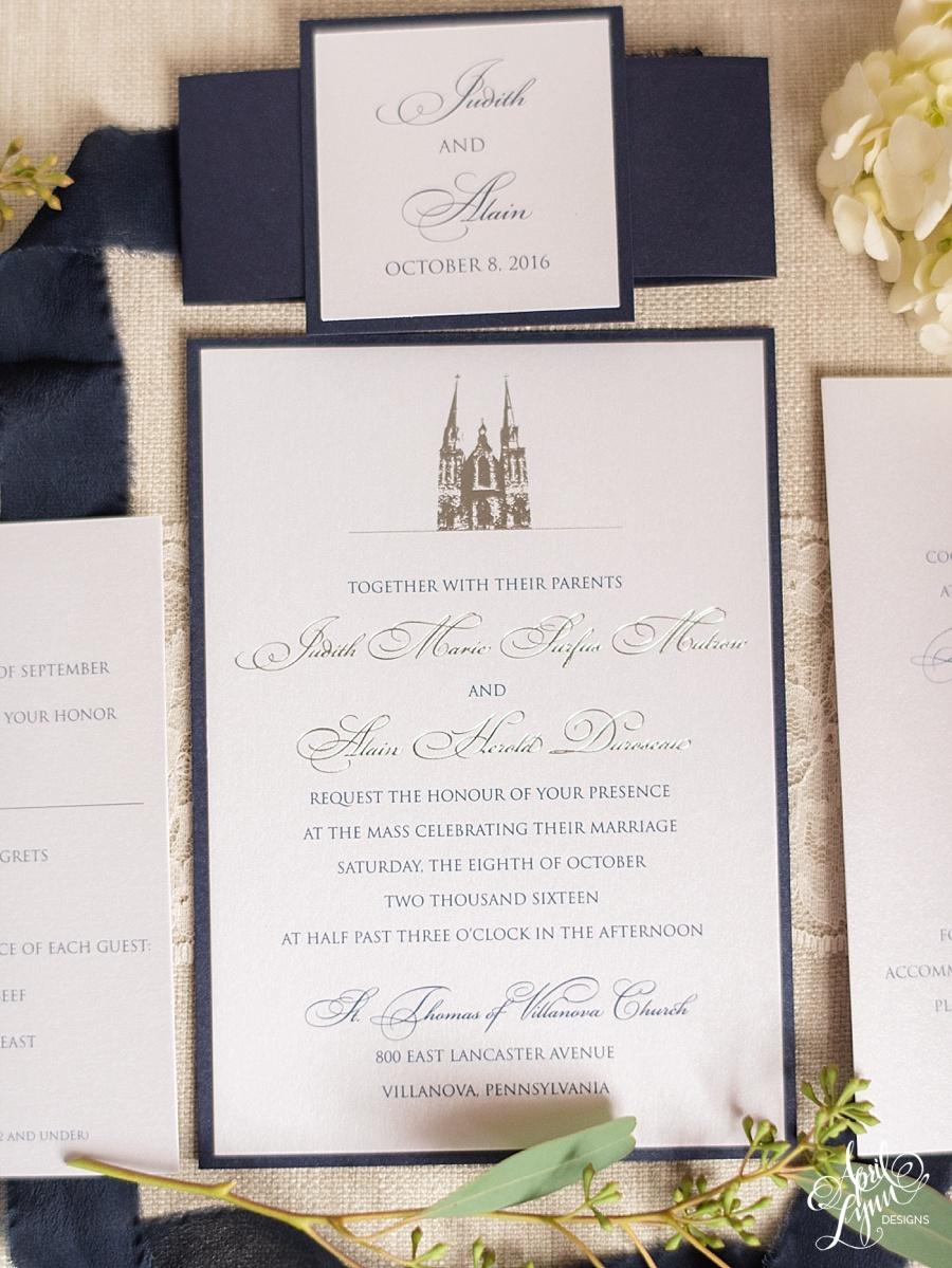 Villanova Wedding Invitation by April Lynn Designs   www.aprillynndesigns.com