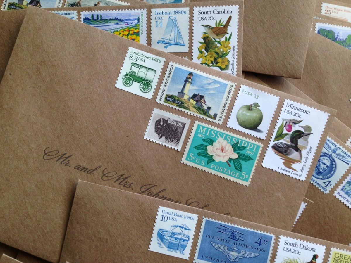 91 Wedding Invitation Stamps Vintage