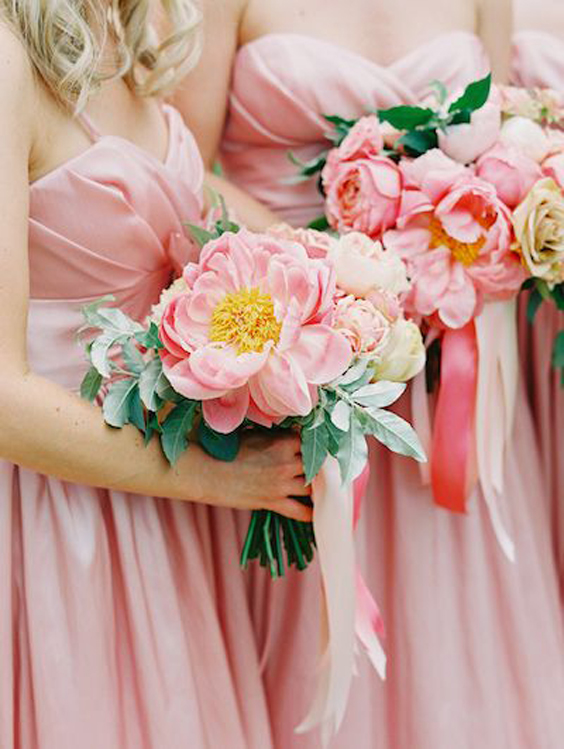Coral Charm Peony Bridesmaid Bouquet | www.aprillynndesigns.com