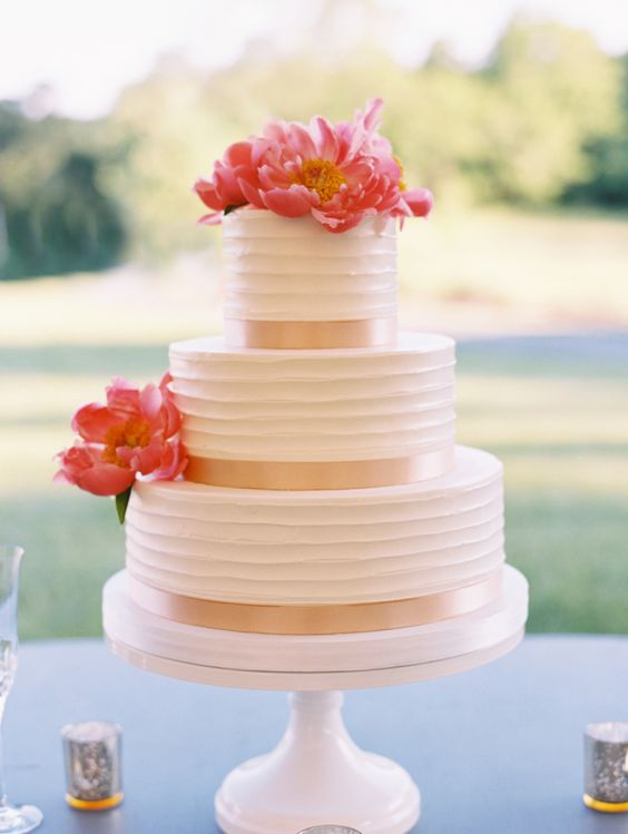 Coral Charm Peony Wedding Cake | www.aprillynndesigns.com