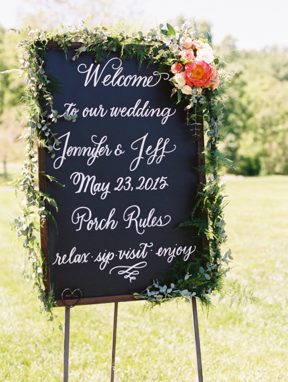 Coral Charm Peony Wedding Welcome Sign | www.aprillynndesigns.com