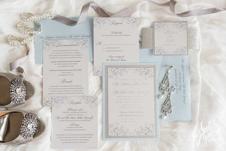 Blue and Silver Foil Elegant Wedding Invitation | www.aprillynndesigns.com