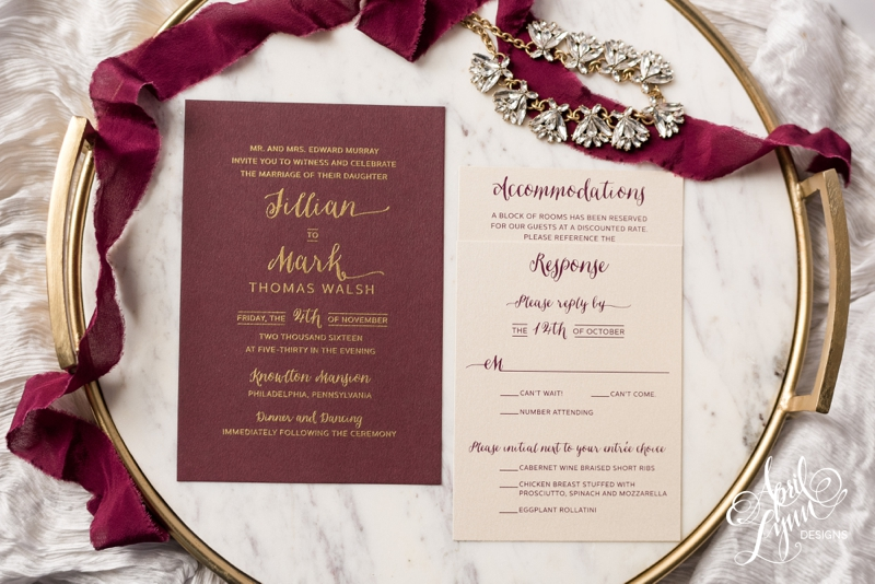 Jillian and Mark's burgundy and gold Knowlton Mansion wedding invitation suite by April Lynn Designs. | www.aprillynndesigns.com