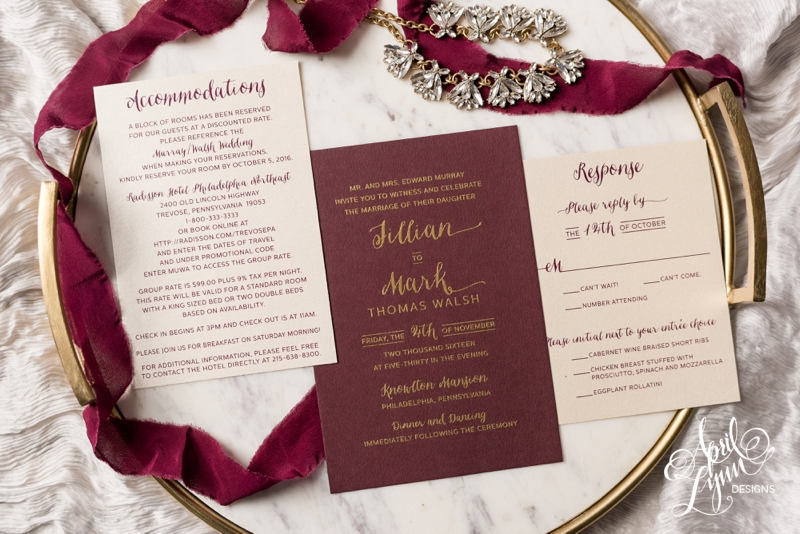 Burgundy and gold thermography wedding invitation suite by April Lynn Designs | www.aprillynndesigns.com