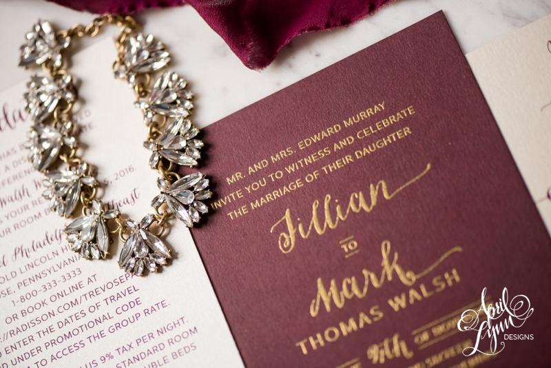 Elegant and modern burgundy and gold Philadelphia wedding invitation by April Lynn Designs. | www.aprillynndesigns.com