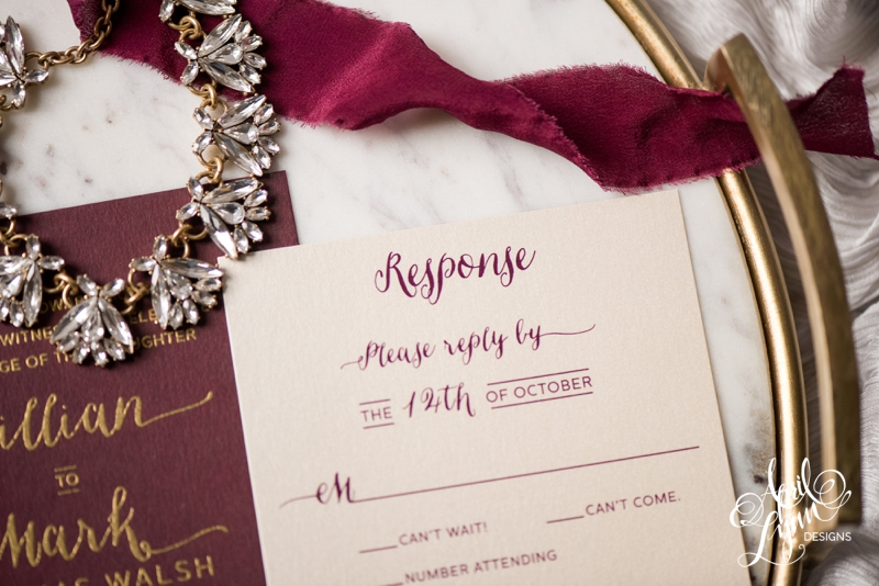Burgundy and white response card design by April Lynn Designs | www.aprillynndesigns.com