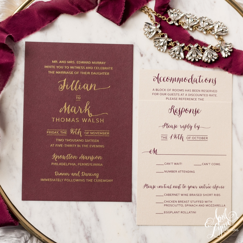 Jillian and Mark's burgundy and gold thermography Philadelphia wedding invitation suite by April Lynn Designs | www.aprillynndesigns.com