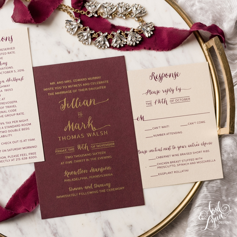 jillian + mark's gold and burgundy wedding invitation suite, Wedding invitations