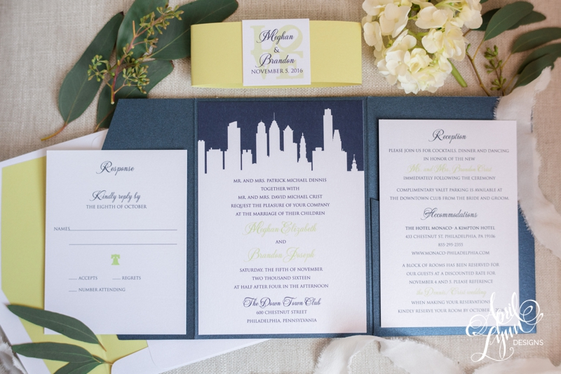 Philadelphia Wedding Invitation for Cescaphe Event Group's Down Town Club | www.aprillynndesigns.com