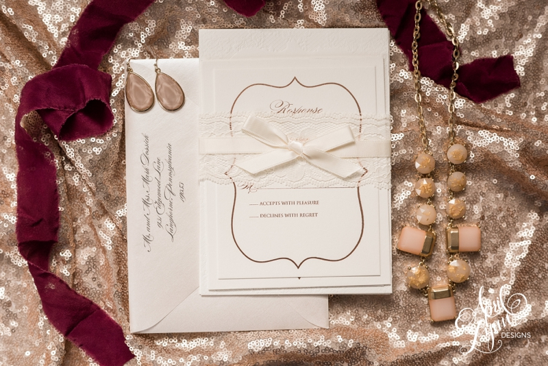 Tracie and Matt's rose gold and lace wedding invitation suite by April Lynn Designs. | www.aprillynndesigns.com