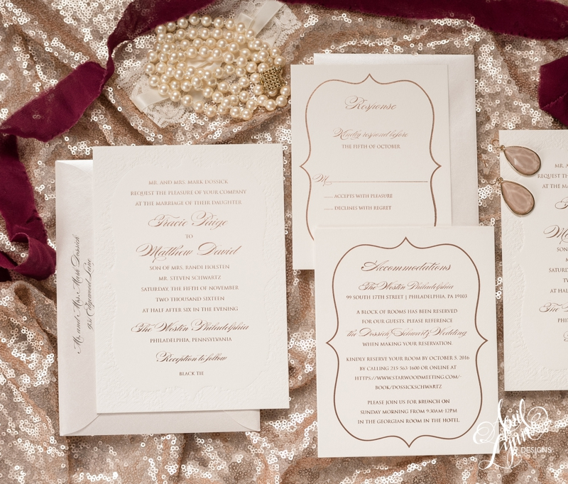 Rose gold foil black tie wedding invitation suite by April Lynn Designs. | www.aprillynndesigns.com