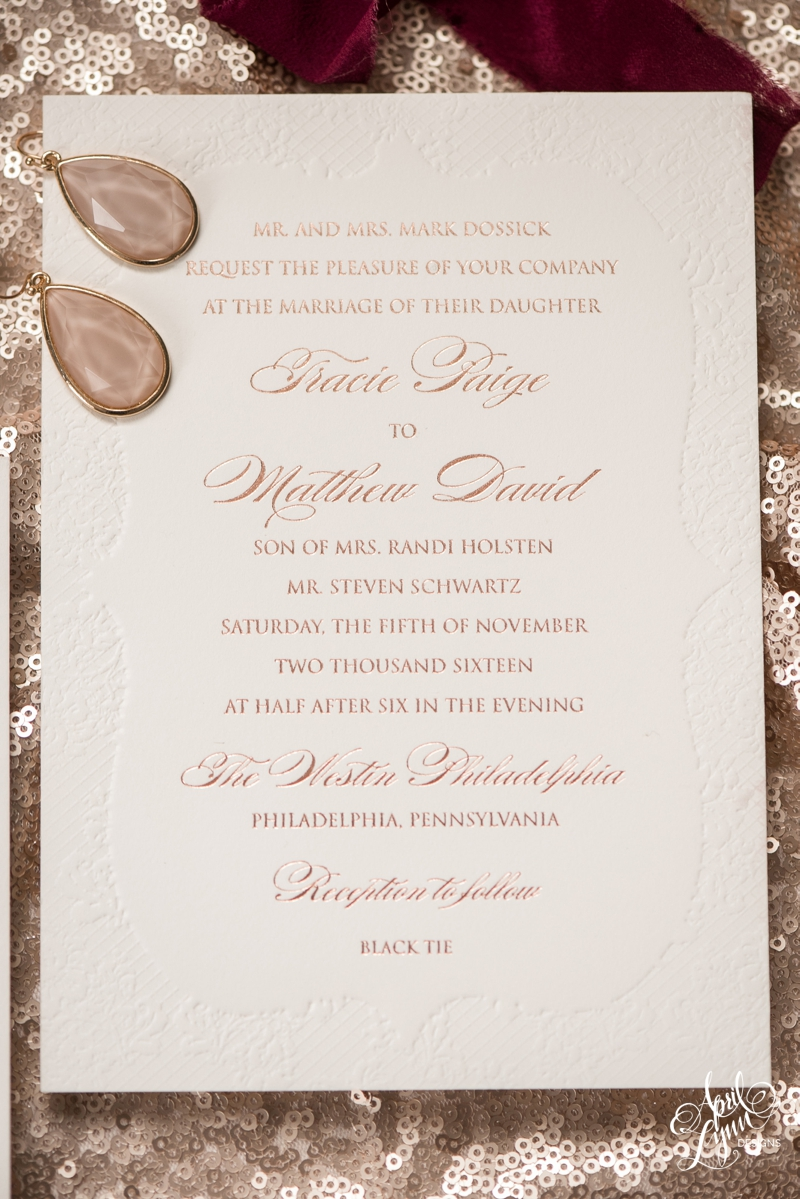 Lace and rose gold foil custom Philadelphia wedding invitation by April Lynn Designs | www.aprillynndesigns.com