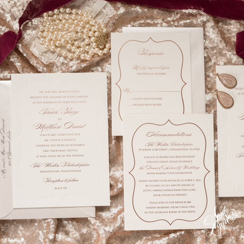 Rose Gold Foil and Lace Wedding Invitation | www.aprillynndesigns.com