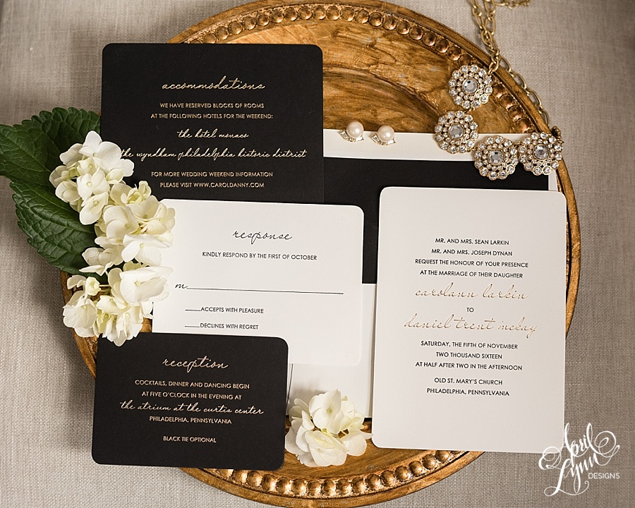 Luxurious Gold Foil and Black Letterpress Wedding Invitation Suite Philadelphia | www.aprillynndesigns.com
