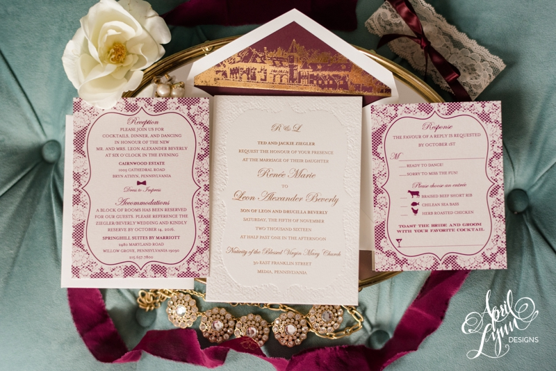 Lace and gold Cairnwood Estate wedding invitation by April Lynn Designs | www.aprillynndesigns.com