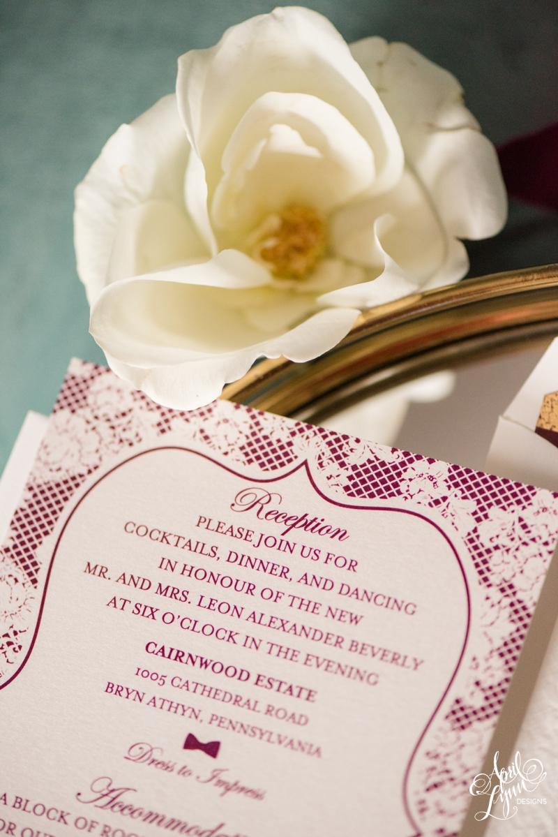 Digitally printed inserts for a Cairnwood Estate wedding | www.aprillynndesigns.com
