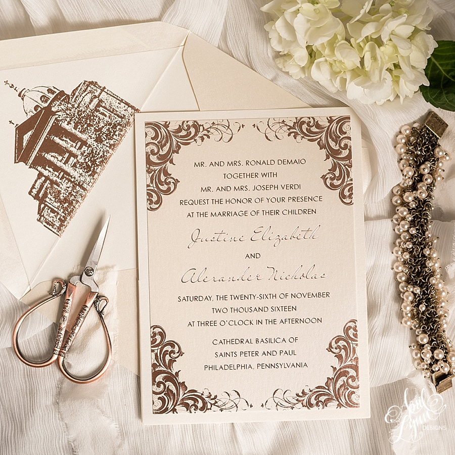 rose gold foil philadelphia wedding invitation wwwaprillynndesignscom - Rose Gold Wedding Invitations