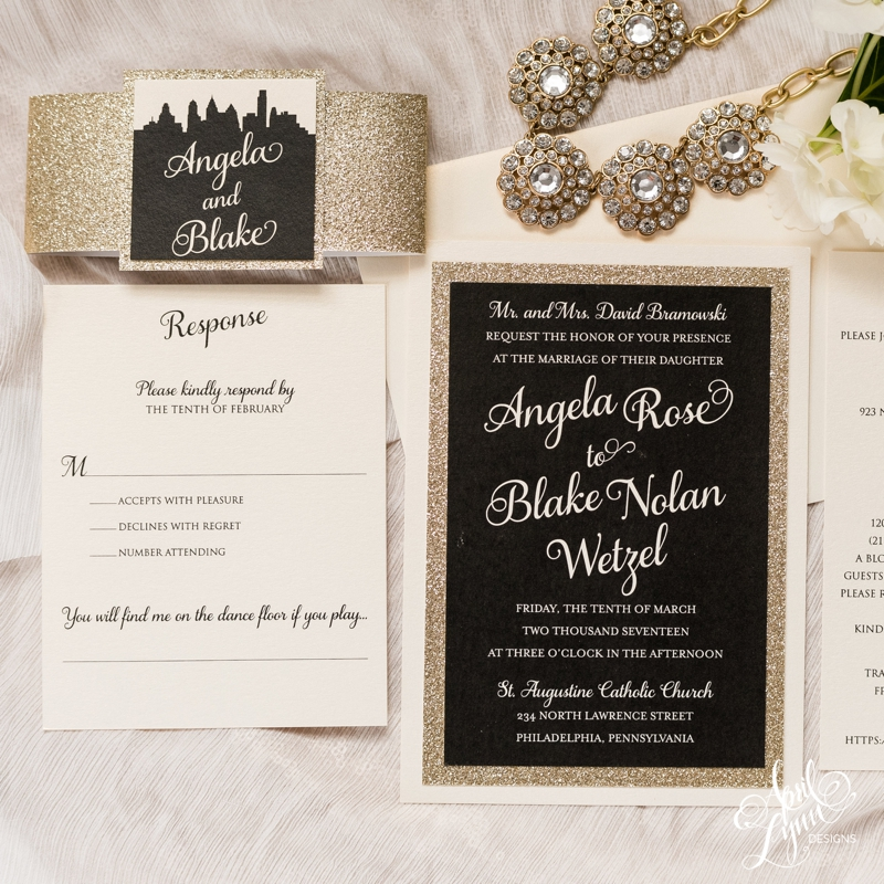 angela blakes black and gold glitter wedding invitation suite wwwaprillynndesignscom - Gold Glitter Wedding Invitations