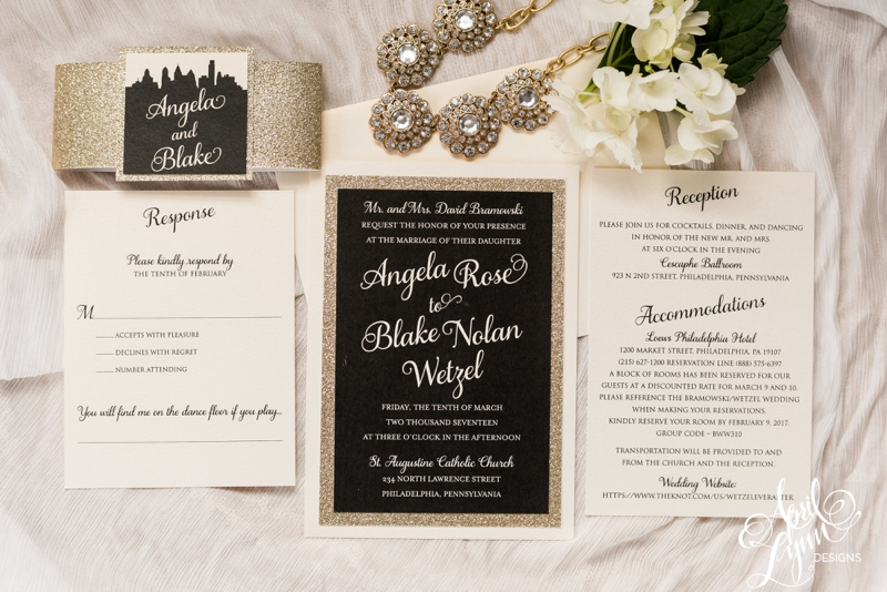 Angela + Blake's Black and Gold Glitter Wedding Invitation Suite | www.aprillynndesigns.com