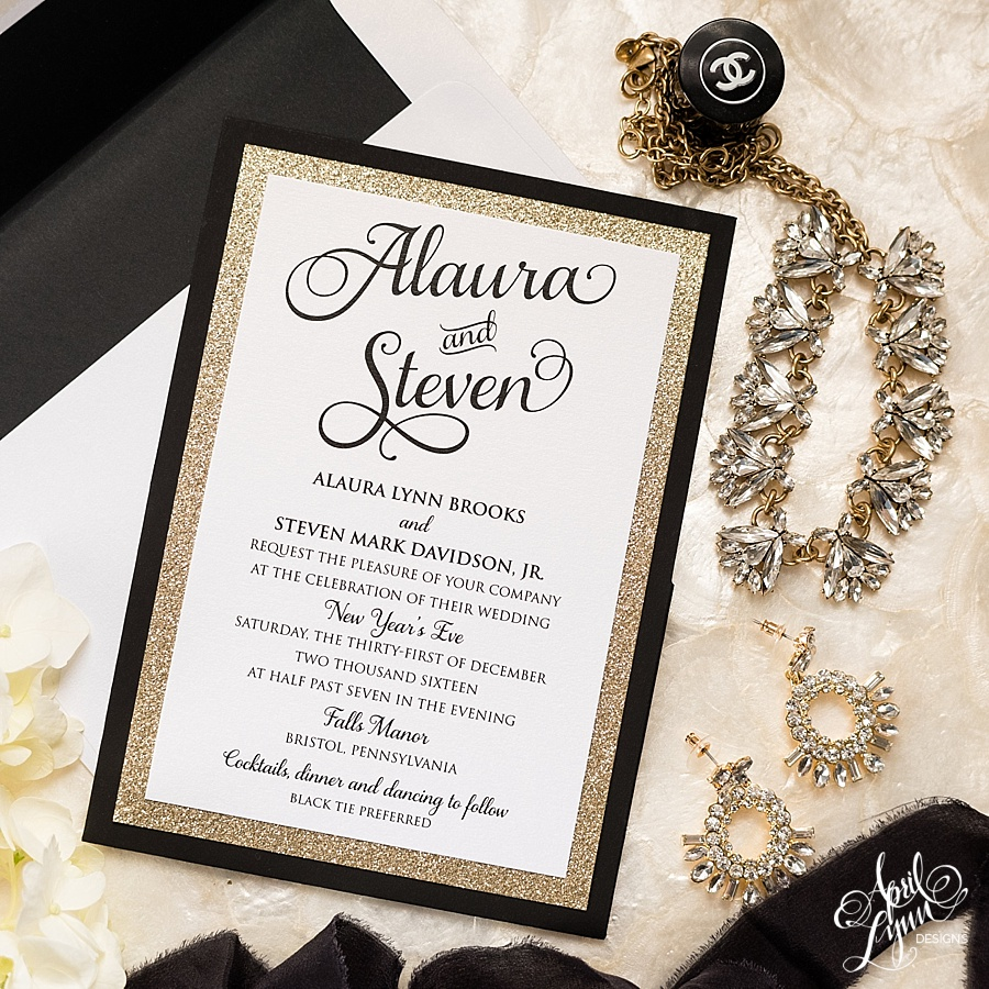 White, Black, and Gold Glamorous New Year's Eve Wedding Invitation Suite | www.aprillynndesigns.com