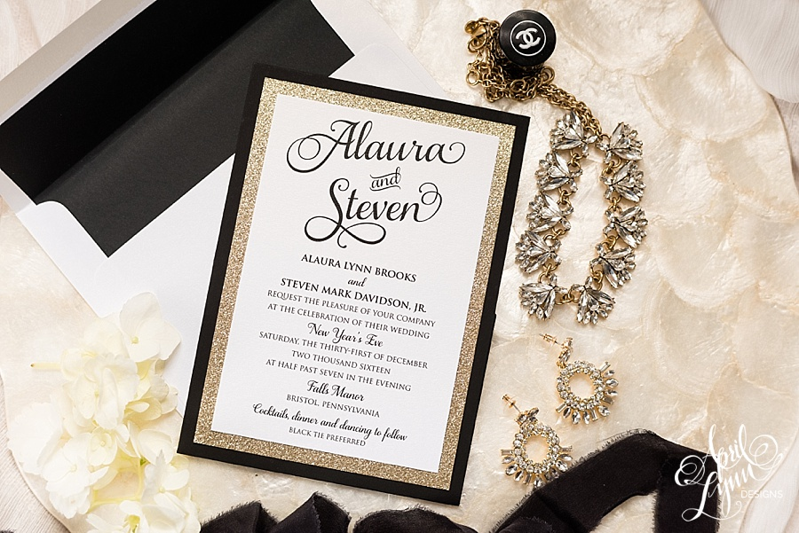 New Years Eve Wedding Invitation: Alaura + Steve's Gold Glam New Year's Eve Wedding