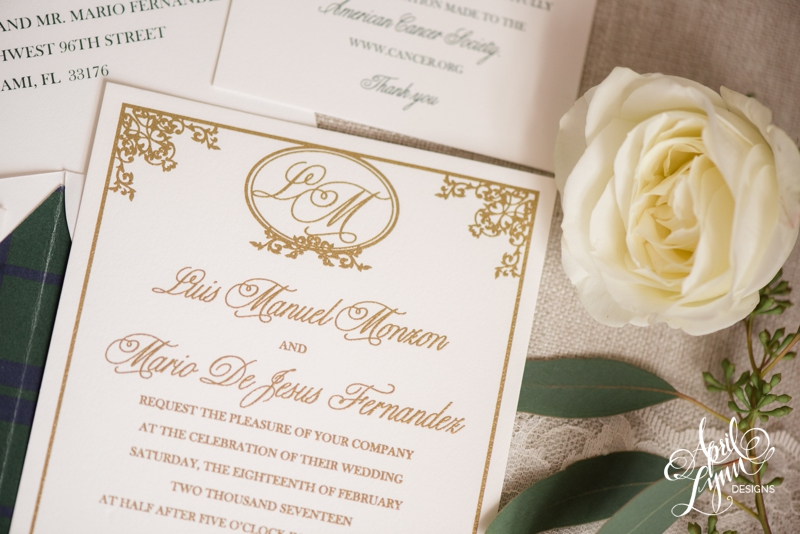 Ivory, Gold, Navy, and Forest Green Plaid Wedding Invitation Suite | www.aprillynndesigns.com