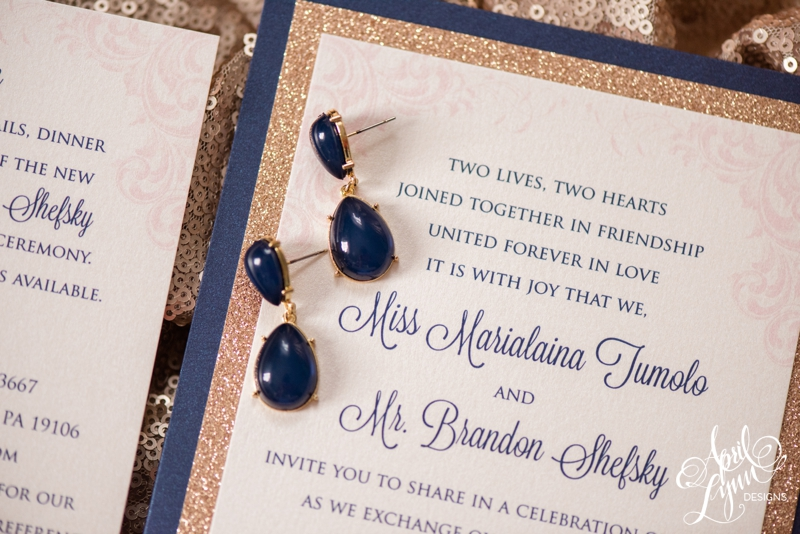 Navy, Blush Pink, and Rose Gold Glitter Wedding Invitation Suite | www.aprillynndesigns.com