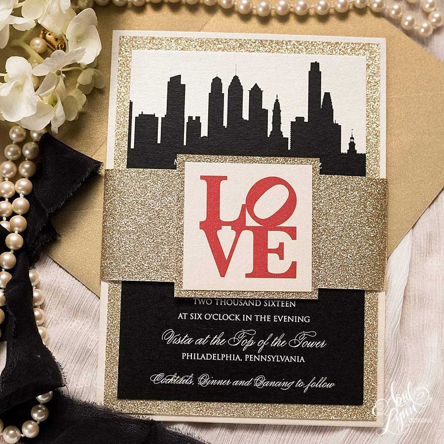 Philadelphia Gold Glam Wedding Invitation Suite | www.aprillynndesigns.com